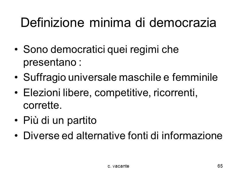 c. vacante65 Definizione minima di democrazia Sono democratici quei regimi che presentano : Suffragio universale maschile e femminile Elezioni libere,