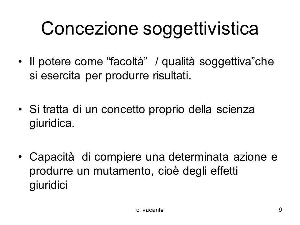 c. vacante9 Concezione soggettivistica Il potere come facoltà / qualità soggettivache si esercita per produrre risultati. Si tratta di un concetto pro