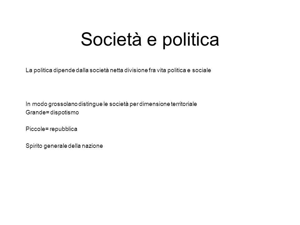 Società e politica La politica dipende dalla società netta divisione fra vita politica e sociale In modo grossolano distingue le società per dimension
