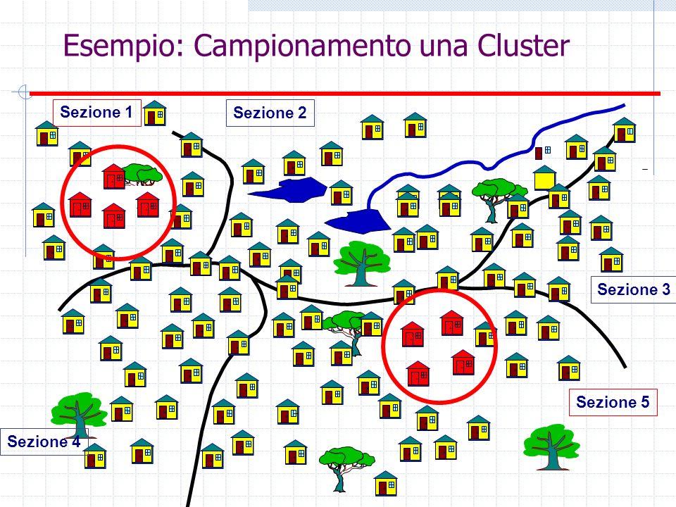 Esempio: Campionamento una Cluster Sezione 4 Sezione 5 Sezione 3 Sezione 2 Sezione 1