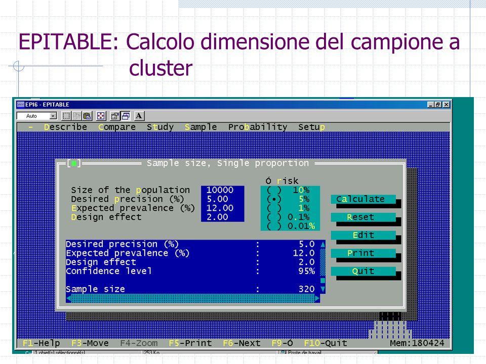 EPITABLE: Calcolo dimensione del campione a cluster