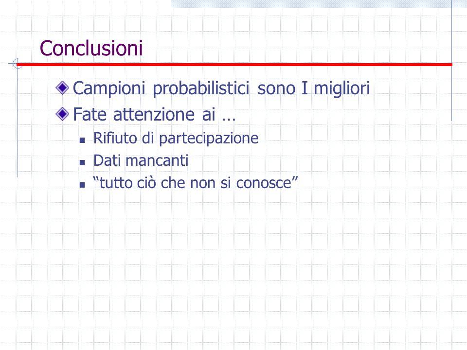Conclusioni Campioni probabilistici sono I migliori Fate attenzione ai … Rifiuto di partecipazione Dati mancanti tutto ciò che non si conosce