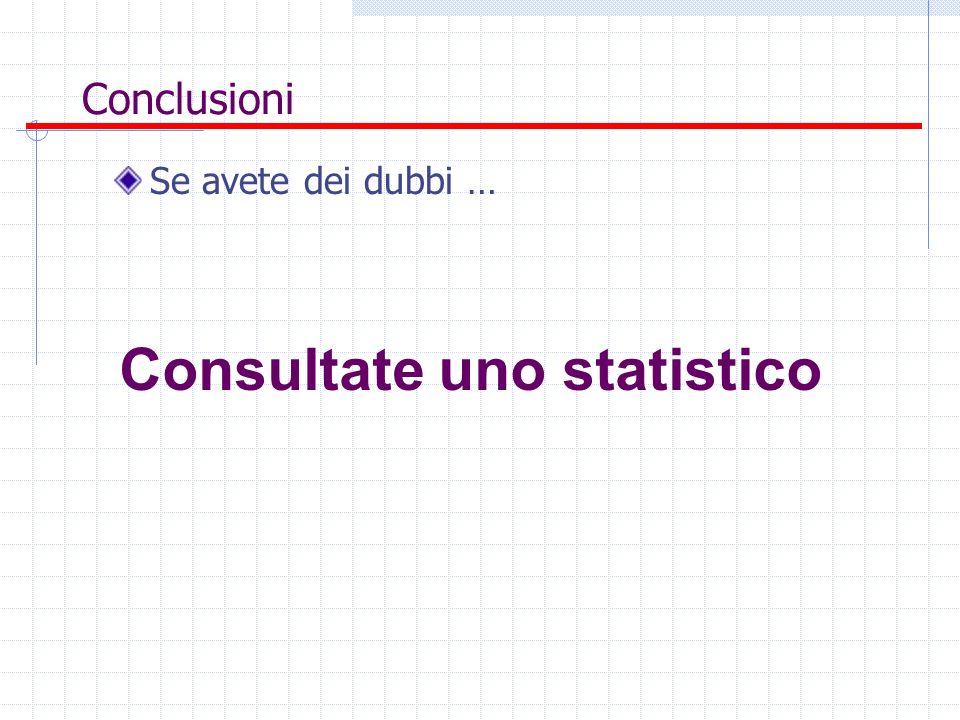Conclusioni Se avete dei dubbi … Consultate uno statistico