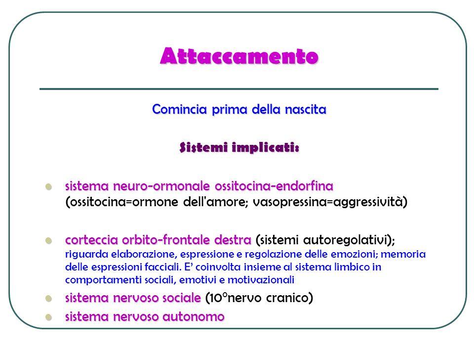 Attaccamento Comincia prima della nascita Sistemi implicati: sistema neuro-ormonale ossitocina-endorfina sistema neuro-ormonale ossitocina-endorfina (