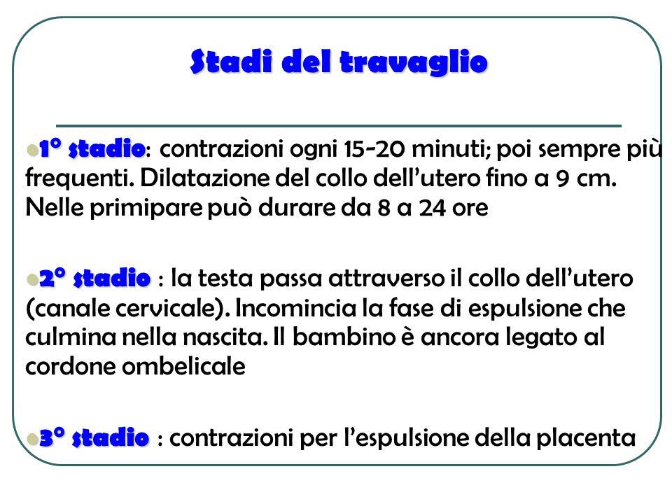 Stadi del travaglio 1° stadio 1° stadio : contrazioni ogni 15-20 minuti; poi sempre più frequenti. Dilatazione del collo dellutero fino a 9 cm. Nelle