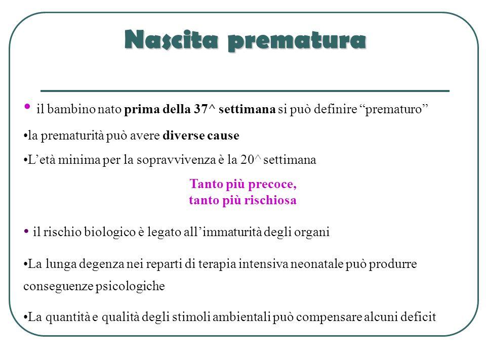 Nascita prematura il bambino nato prima della 37^ settimana si può definire prematuro la prematurità può avere diverse cause Letà minima per la soprav