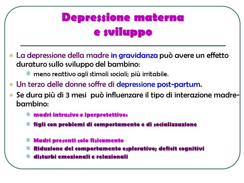 Depressione materna e sviluppo in gravidanza La depressione della madre in gravidanza può avere un effetto duraturo sullo sviluppo del bambino: meno r