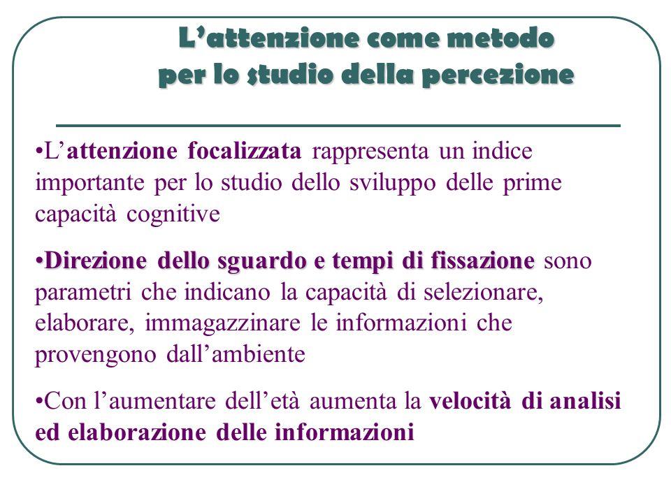 Lattenzione come metodo per lo studio della percezione Lattenzione focalizzata rappresenta un indice importante per lo studio dello sviluppo delle pri