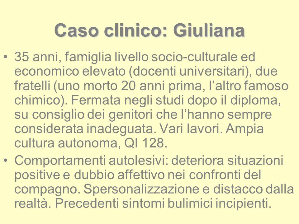 Caso clinico: Giuliana 35 anni, famiglia livello socio-culturale ed economico elevato (docenti universitari), due fratelli (uno morto 20 anni prima, l