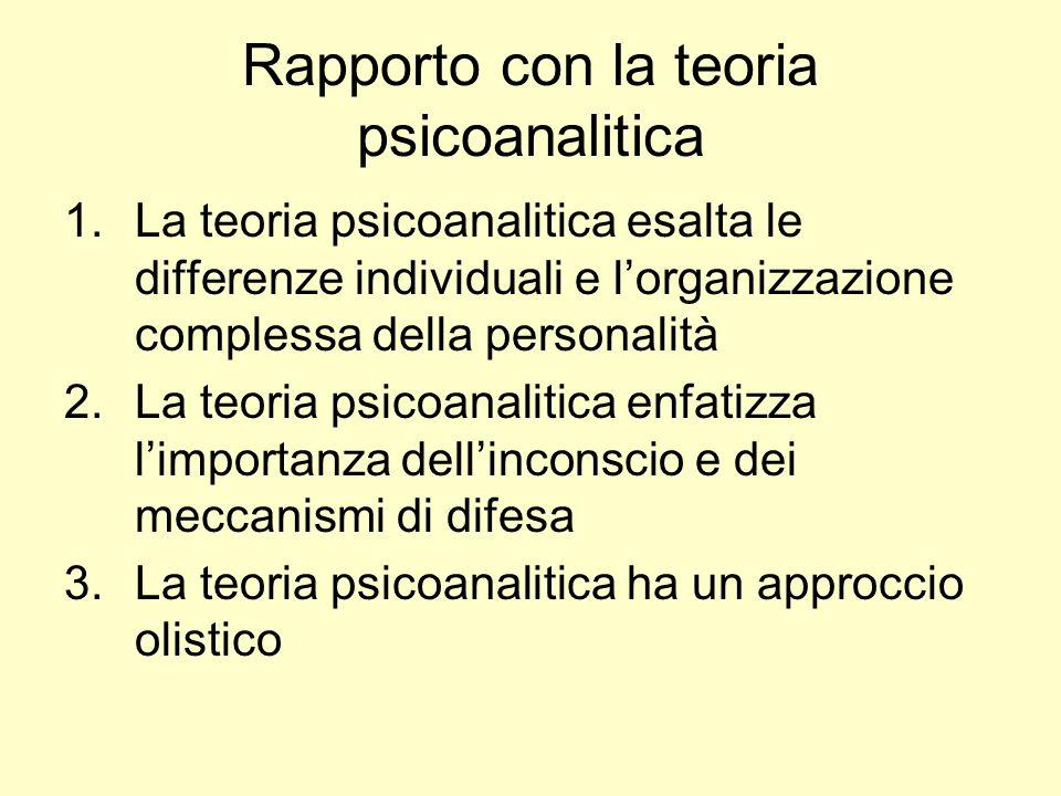 Rapporto con la teoria psicoanalitica 1.La teoria psicoanalitica esalta le differenze individuali e lorganizzazione complessa della personalità 2.La t