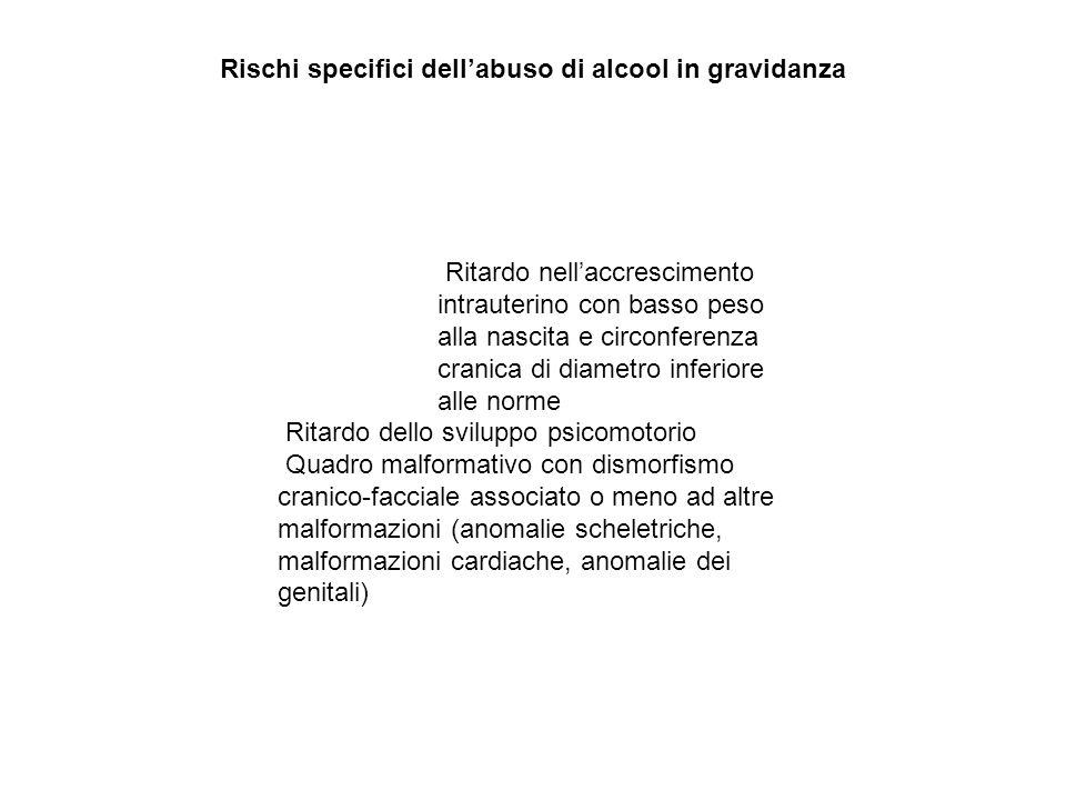 Rischi specifici dellabuso di alcool in gravidanza Ritardo nellaccrescimento intrauterino con basso peso alla nascita e circonferenza cranica di diame