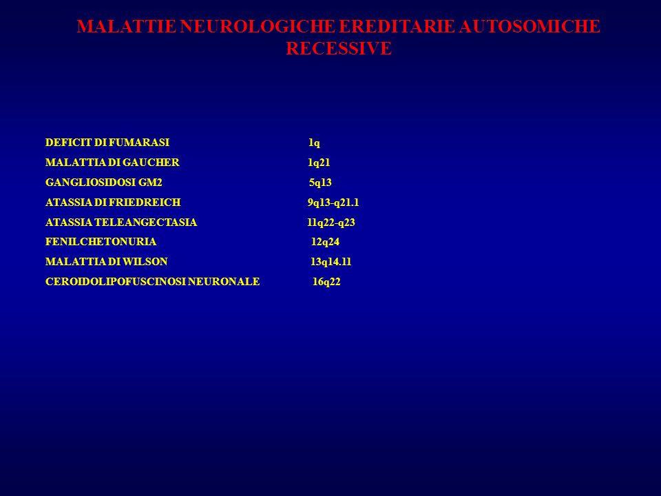 MALATTIE NEUROLOGICHE EREDITARIE AUTOSOMICHE RECESSIVE DEFICIT DI FUMARASI 1q MALATTIA DI GAUCHER 1q21 GANGLIOSIDOSI GM2 5q13 ATASSIA DI FRIEDREICH 9q