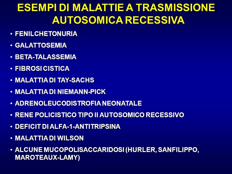 ESEMPI DI MALATTIE A TRASMISSIONE AUTOSOMICA RECESSIVA FENILCHETONURIAFENILCHETONURIA GALATTOSEMIAGALATTOSEMIA BETA-TALASSEMIABETA-TALASSEMIA FIBROSI