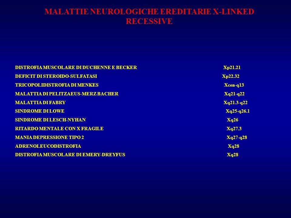 MALATTIE NEUROLOGICHE EREDITARIE X-LINKED RECESSIVE DISTROFIA MUSCOLARE DI DUCHENNE E BECKER Xp21.21 DEFICIT DI STEROIDO-SULFATASI Xp22.32 TRICOPOLIDI