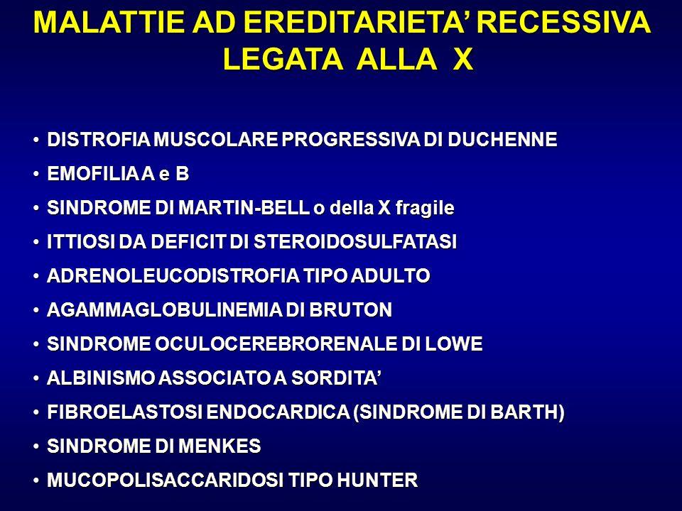 MALATTIE AD EREDITARIETA RECESSIVA LEGATA ALLA X DISTROFIA MUSCOLARE PROGRESSIVA DI DUCHENNEDISTROFIA MUSCOLARE PROGRESSIVA DI DUCHENNE EMOFILIA A e B