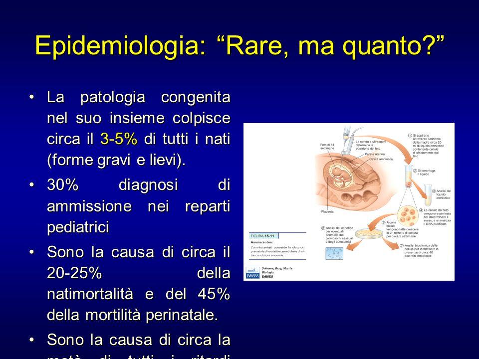 Epidemiologia: Rare, ma quanto? La patologia congenita nel suo insieme colpisce circa il 3-5% di tutti i nati (forme gravi e lievi).La patologia conge