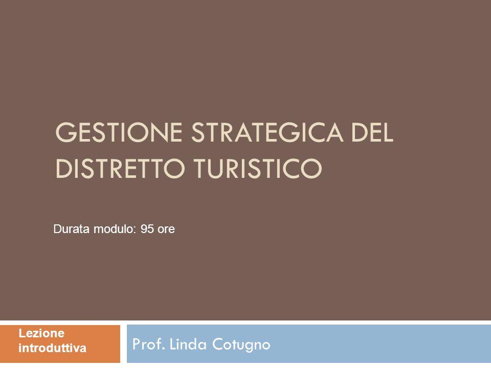 GESTIONE STRATEGICA DEL DISTRETTO TURISTICO Prof. Linda Cotugno Lezione introduttiva Durata modulo: 95 ore