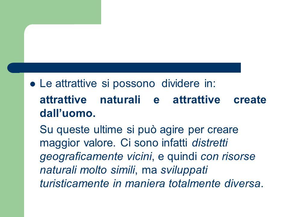 Le attrattive si possono dividere in: attrattive naturali e attrattive create dalluomo. Su queste ultime si può agire per creare maggior valore. Ci so