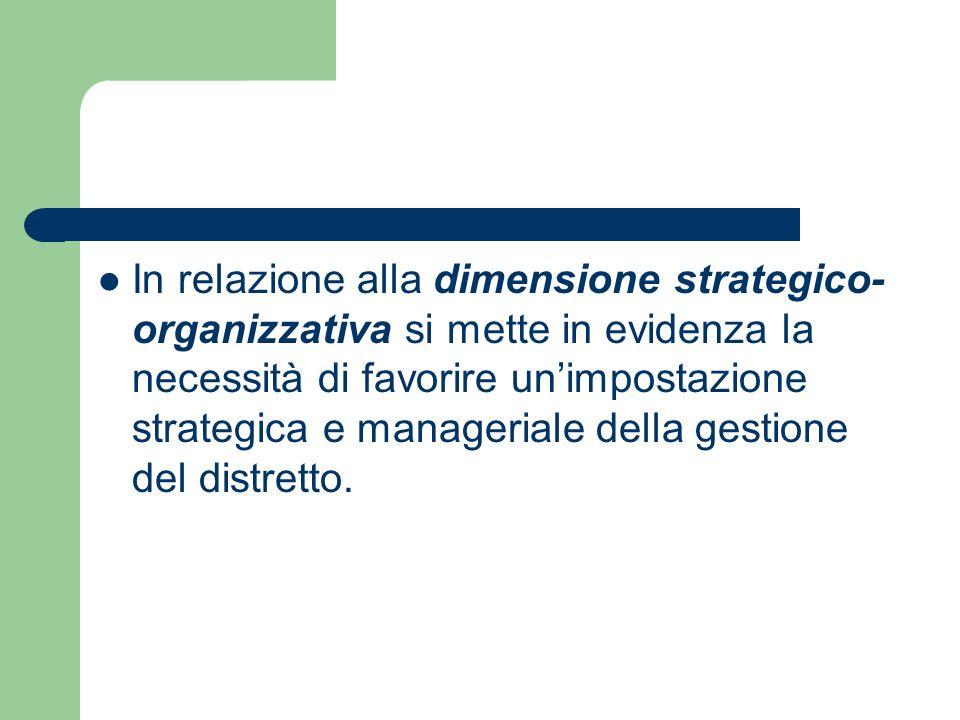 In relazione alla dimensione strategico- organizzativa si mette in evidenza la necessità di favorire unimpostazione strategica e manageriale della gestione del distretto.
