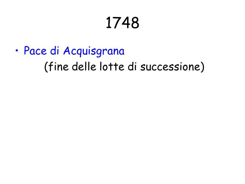 1748 Pace di Acquisgrana (fine delle lotte di successione)
