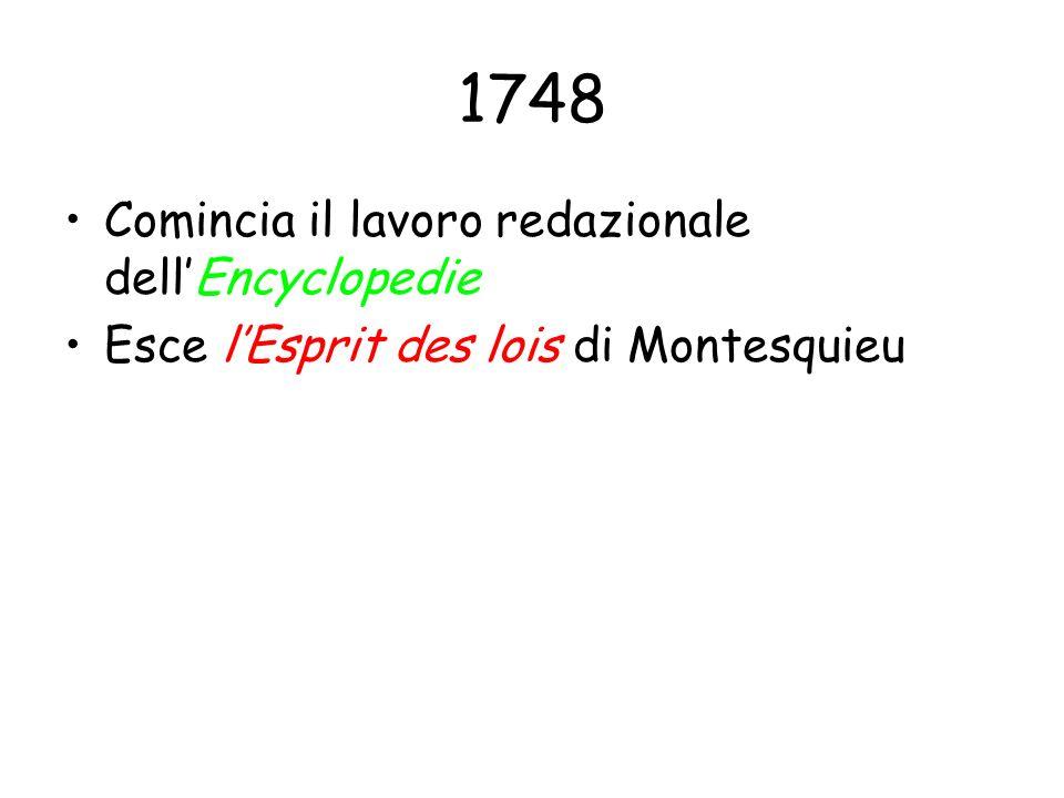 1748 Comincia il lavoro redazionale dellEncyclopedie Esce lEsprit des lois di Montesquieu