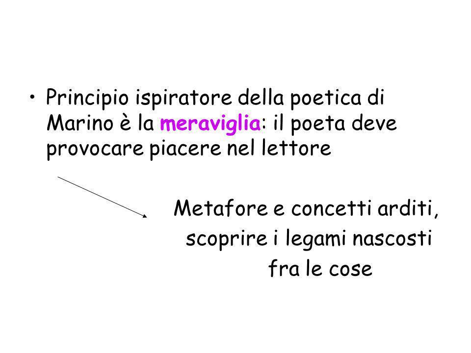 Principio ispiratore della poetica di Marino è la meraviglia: il poeta deve provocare piacere nel lettore Metafore e concetti arditi, scoprire i legam