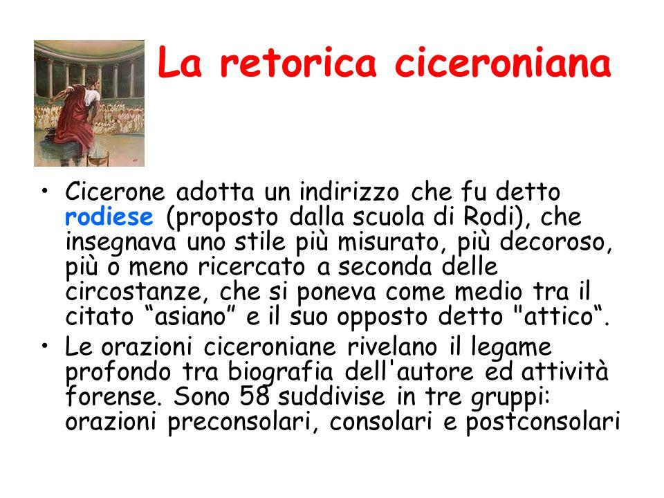 La retorica ciceroniana Cicerone adotta un indirizzo che fu detto rodiese (proposto dalla scuola di Rodi), che insegnava uno stile più misurato, più d