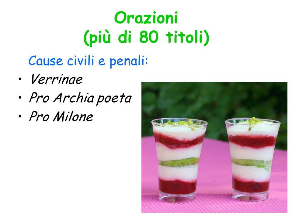 Orazioni (più di 80 titoli) Cause civili e penali: Verrinae Pro Archia poeta Pro Milone