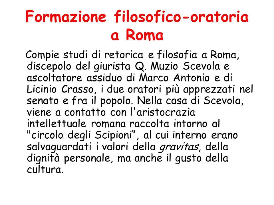 Formazione filosofico-oratoria a Roma Compie studi di retorica e filosofia a Roma, discepolo del giurista Q. Muzio Scevola e ascoltatore assiduo di Ma