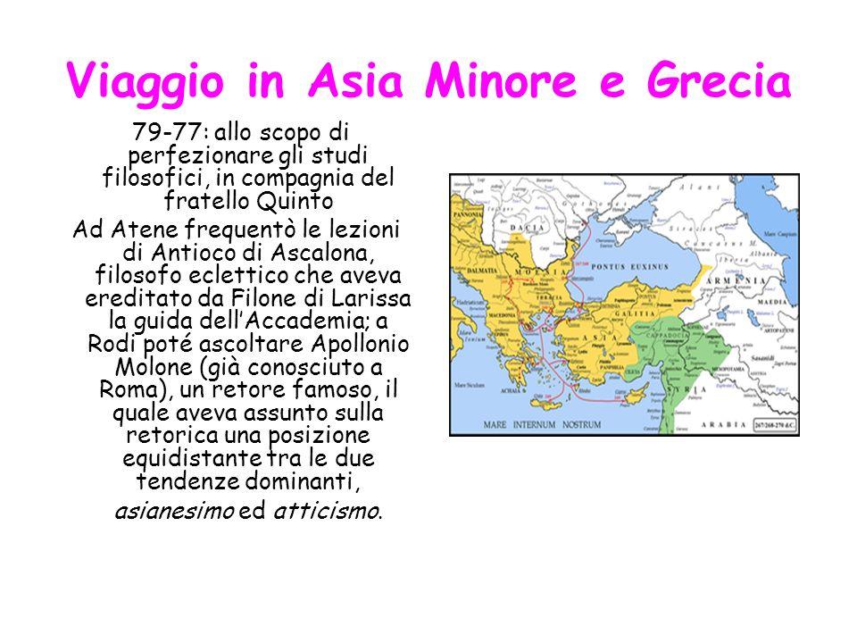 Viaggio in Asia Minore e Grecia 79-77: allo scopo di perfezionare gli studi filosofici, in compagnia del fratello Quinto Ad Atene frequentò le lezioni