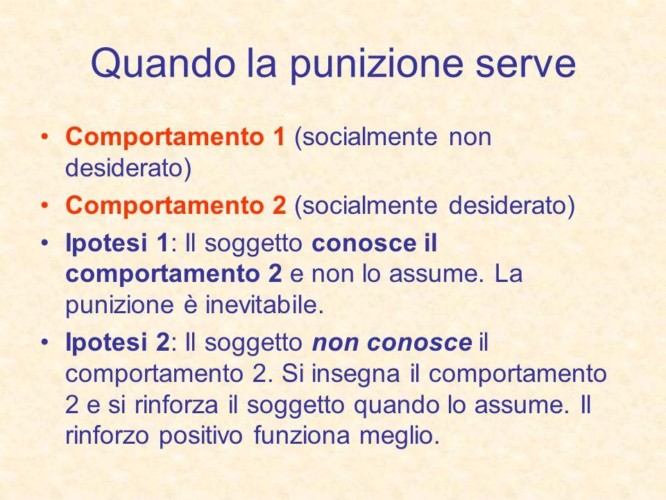 Quando la punizione serve Comportamento 1 (socialmente non desiderato) Comportamento 2 (socialmente desiderato) Ipotesi 1: Il soggetto conosce il comp