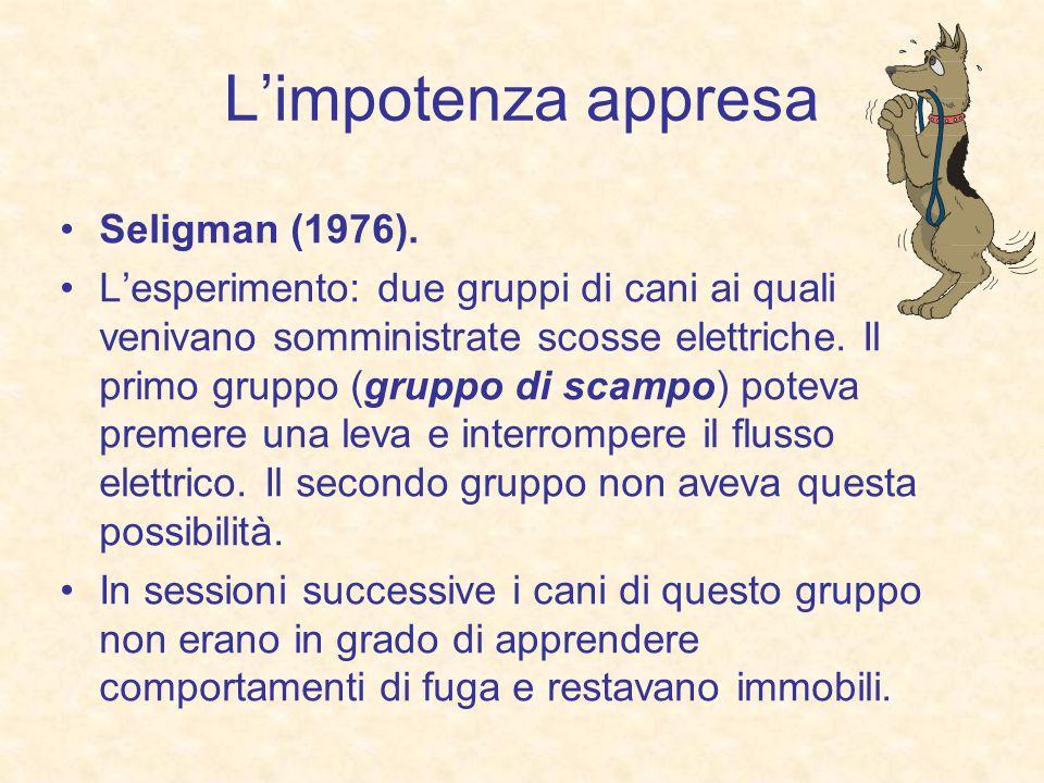 Limpotenza appresa Seligman (1976). Lesperimento: due gruppi di cani ai quali venivano somministrate scosse elettriche. Il primo gruppo (gruppo di sca