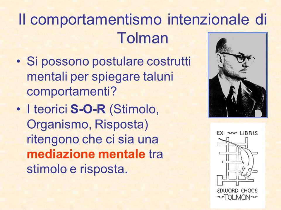 Il comportamentismo intenzionale di Tolman Si possono postulare costrutti mentali per spiegare taluni comportamenti? I teorici S-O-R (Stimolo, Organis