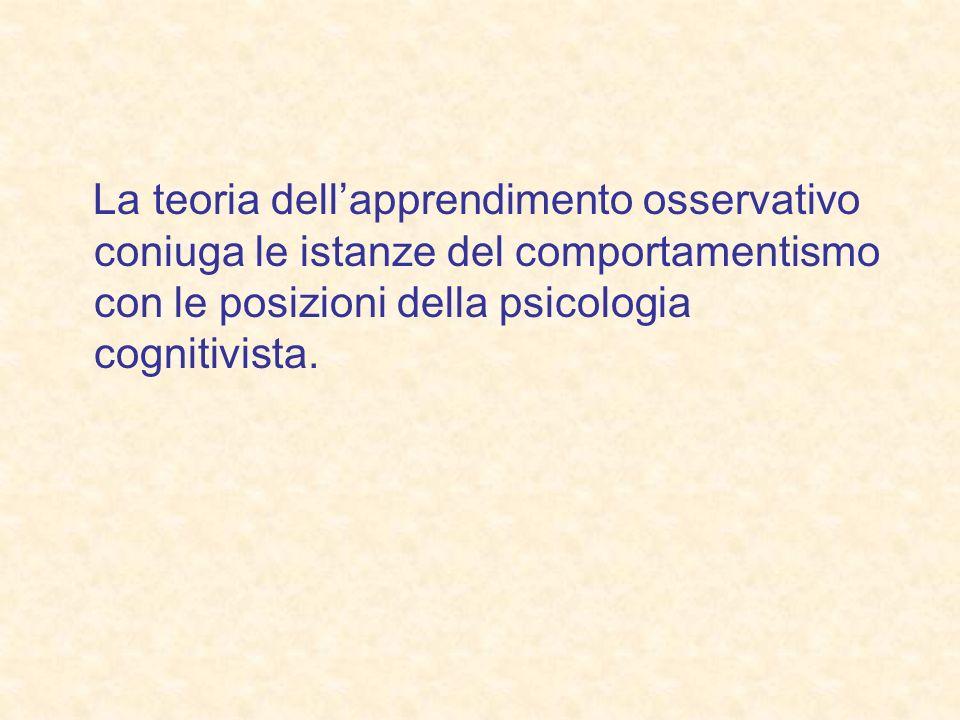 La teoria dellapprendimento osservativo coniuga le istanze del comportamentismo con le posizioni della psicologia cognitivista.