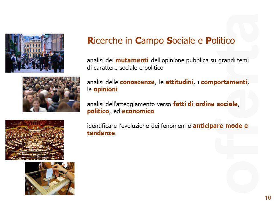 10 offerta Ricerche in Campo Sociale e Politico analisi dei mutamenti dellopinione pubblica su grandi temi di carattere sociale e politico analisi del