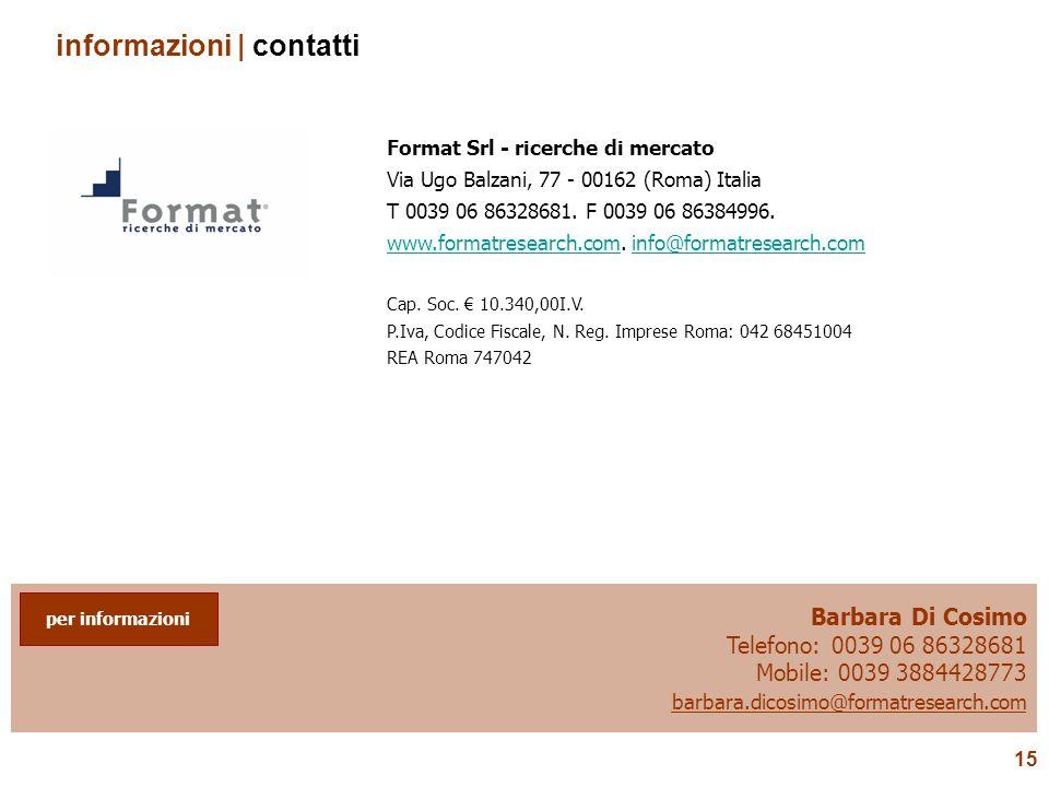 15 Barbara Di Cosimo Telefono: 0039 06 86328681 Mobile: 0039 3884428773 barbara.dicosimo@formatresearch.com per informazioni informazioni | contatti F