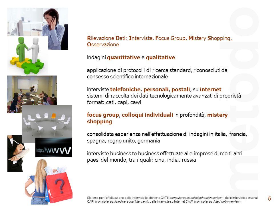 5 metodo Rilevazione Dati: Interviste, Focus Group, Mistery Shopping, Osservazione indagini quantitative e qualitative applicazione di protocolli di r