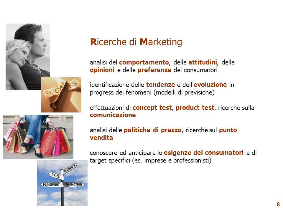 8 Ricerche di Marketing analisi del comportamento, delle attitudini, delle opinioni e delle preferenze dei consumatori identificazione delle tendenze