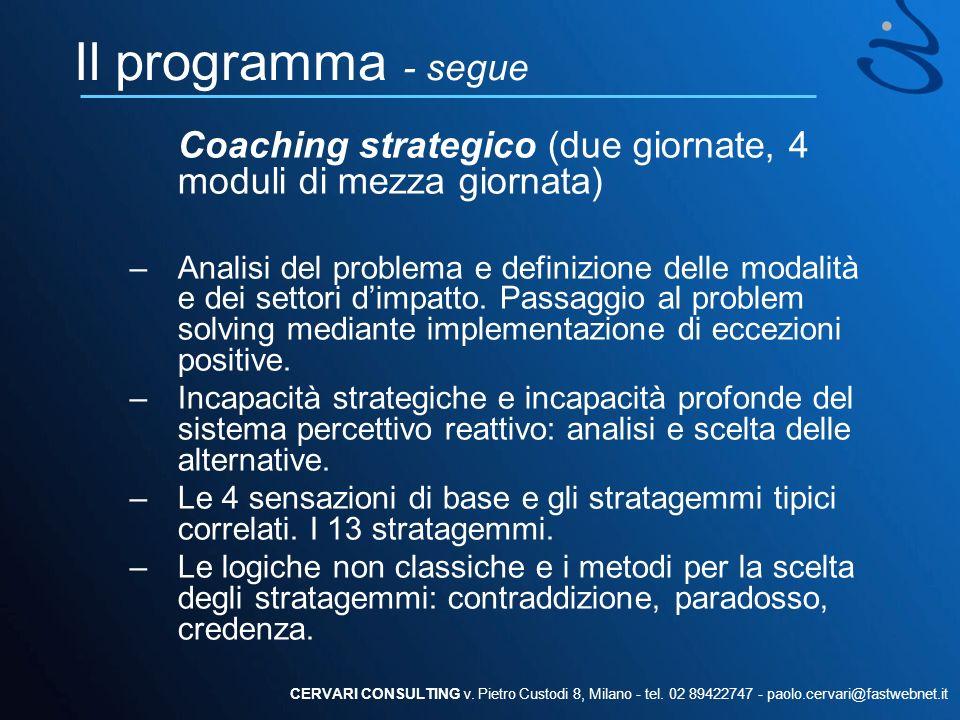 Il programma - segue Coaching strategico (due giornate, 4 moduli di mezza giornata) –Analisi del problema e definizione delle modalità e dei settori d