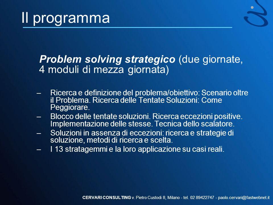 Il programma Problem solving strategico (due giornate, 4 moduli di mezza giornata) –Ricerca e definizione del problema/obiettivo: Scenario oltre il Pr