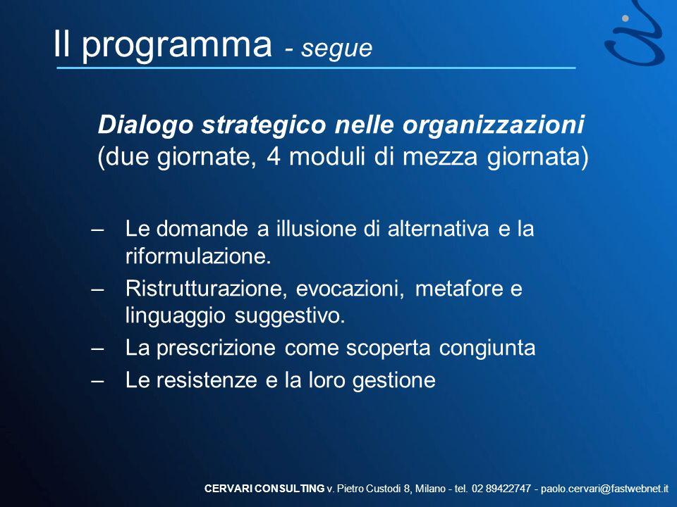 Il programma - segue Coaching strategico (due giornate, 4 moduli di mezza giornata) –Analisi del problema e definizione delle modalità e dei settori dimpatto.