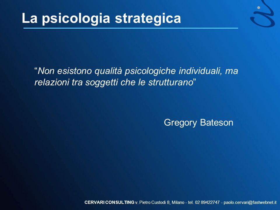 La psicologia strategica Non esistono qualità psicologiche individuali, ma relazioni tra soggetti che le strutturano Gregory Bateson CERVARI CONSULTIN