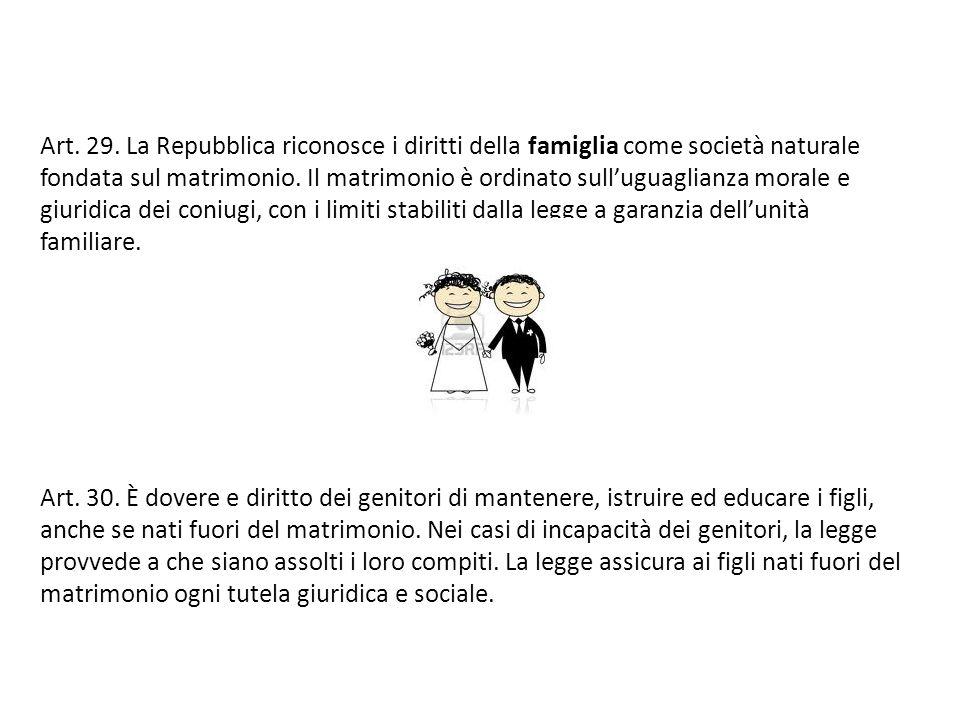 Art. 29. La Repubblica riconosce i diritti della famiglia come società naturale fondata sul matrimonio. Il matrimonio è ordinato sulluguaglianza moral