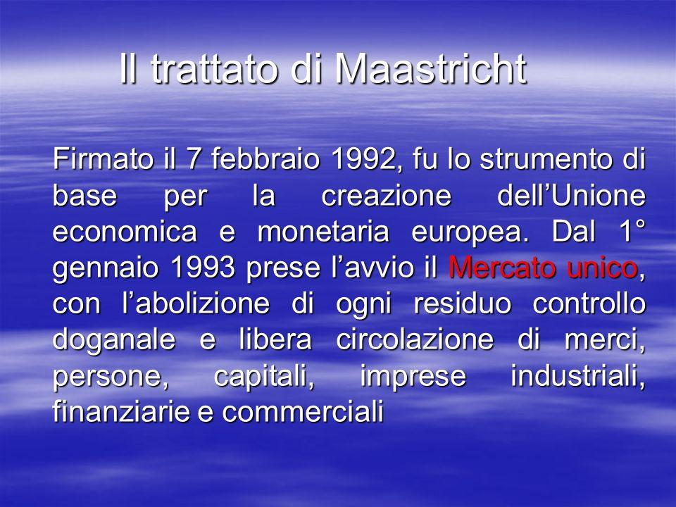 Il trattato di Maastricht Firmato il 7 febbraio 1992, fu lo strumento di base per la creazione dellUnione economica e monetaria europea.
