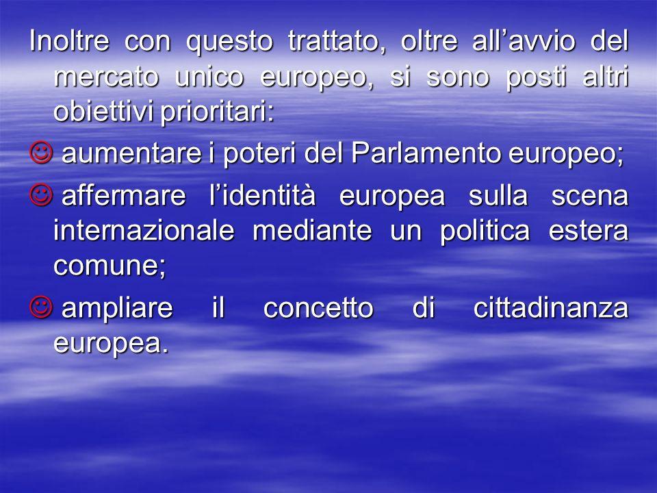 Inoltre con questo trattato, oltre allavvio del mercato unico europeo, si sono posti altri obiettivi prioritari: aumentare i poteri del Parlamento europeo; aumentare i poteri del Parlamento europeo; affermare lidentità europea sulla scena internazionale mediante un politica estera comune; affermare lidentità europea sulla scena internazionale mediante un politica estera comune; ampliare il concetto di cittadinanza europea.