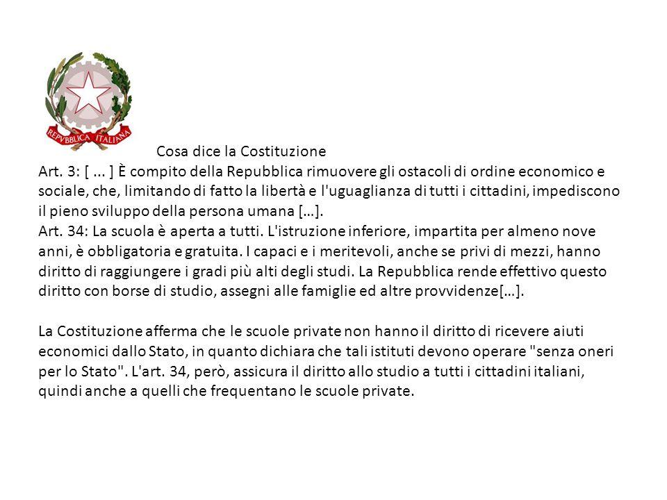 Cosa dice la Costituzione Art. 3: [... ] È compito della Repubblica rimuovere gli ostacoli di ordine economico e sociale, che, limitando di fatto la l