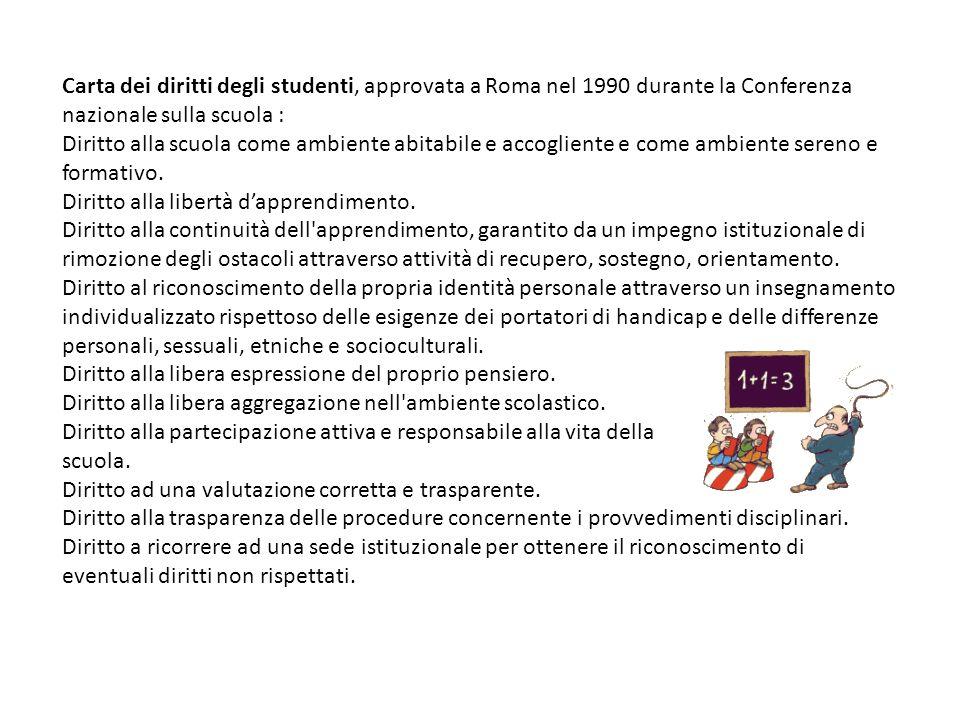 Carta dei diritti degli studenti, approvata a Roma nel 1990 durante la Conferenza nazionale sulla scuola : Diritto alla scuola come ambiente abitabile
