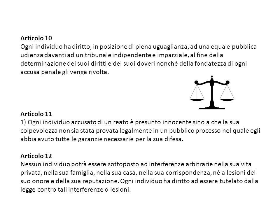 Articolo 10 Ogni individuo ha diritto, in posizione di piena uguaglianza, ad una equa e pubblica udienza davanti ad un tribunale indipendente e imparz