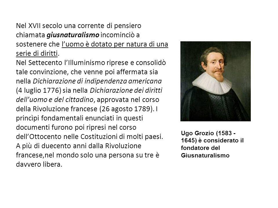 Nel XVII secolo una corrente di pensiero chiamata giusnaturalismo incominciò a sostenere che luomo è dotato per natura di una serie di diritti. Nel Se