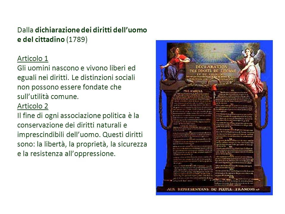 Dalla dichiarazione dei diritti delluomo e del cittadino (1789) Articolo 1 Gli uomini nascono e vivono liberi ed eguali nei diritti. Le distinzioni so